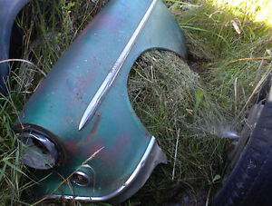 1954 OLDS LEFT FRONT FENDER + HOOD ,R/BUMPER.98 SEDAN  $125 EA