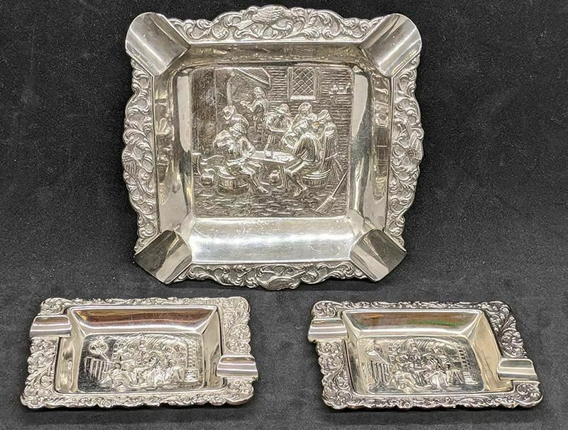 Silver Plated 3 Piece Ashtray Set