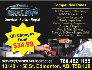 GREAT DEALS ON WINTER TIRES AND OIL CHANGES! TIRES CHANGE OVER