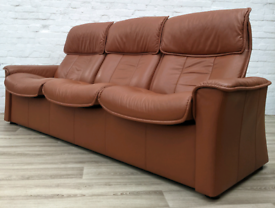 Ekornes Stressless Tan Leather reclining sofa (DELIVERY AVAILABLE)