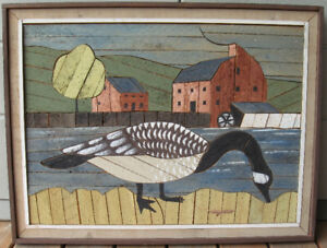 Rustic Degroot Country Folk Art Or Lath Art Goose Picture