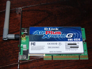 D-Link AirPlus Xtreme G DWL-G520 PCI Wifi Wireless Adapter