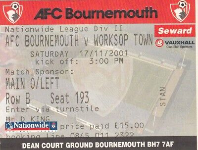 Ticket - Bournemouth v Worksop Town 17.11.01