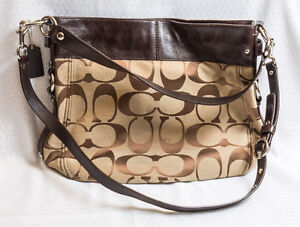 COACH LARGE ZOE LEATHER & SATEEN CONVERTIBLE BAG
