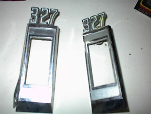 "USED PAIR OF ""327"" SIDE MARKER LITE EMBLEMS FROM 68-9 CHEV"