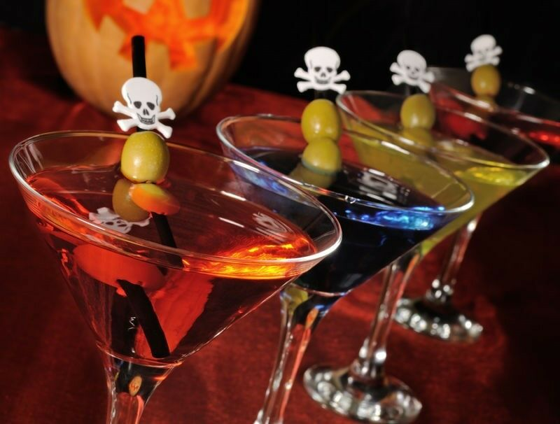 Colour your favourite martini and string a Halloween cocktail pick with olives, pickled onions or another garnish