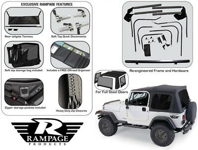 (Rampage Complete Tinted Soft Top & Hardware Kit 1987-1995 Jeep Wrangler YJ 68035)