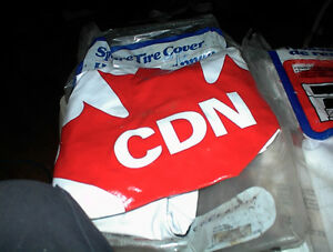 4 NEW WHITE/RED MAPLE LEAF CDN SPARE TIRE COVERS $10.00 EA