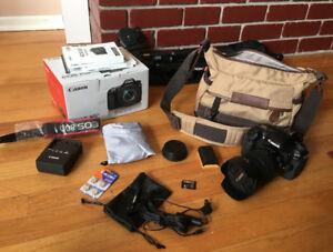 Canon 80D DSLR Kit 18-135 usm 2 Batteries, 64sd, Mic, Bag Tripod