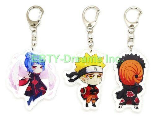 Set of 3 Naruto Anime Acrylic Keychain Uchiha Obito Tobi, Uzumaki Naruto, Konan