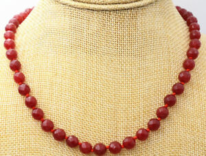 Natural 8mm Faceted Round Red Ruby Beads Gemstone Necklace