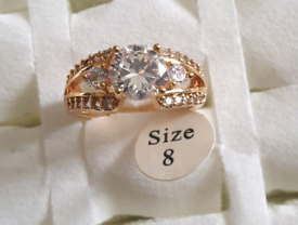 Brand new gold plated with crystal stones ladies ring,