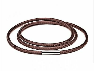 1Pcs Fashion Men's Stainless Steel Clasp Brown Wax Leather Cord Pendant Necklace ()
