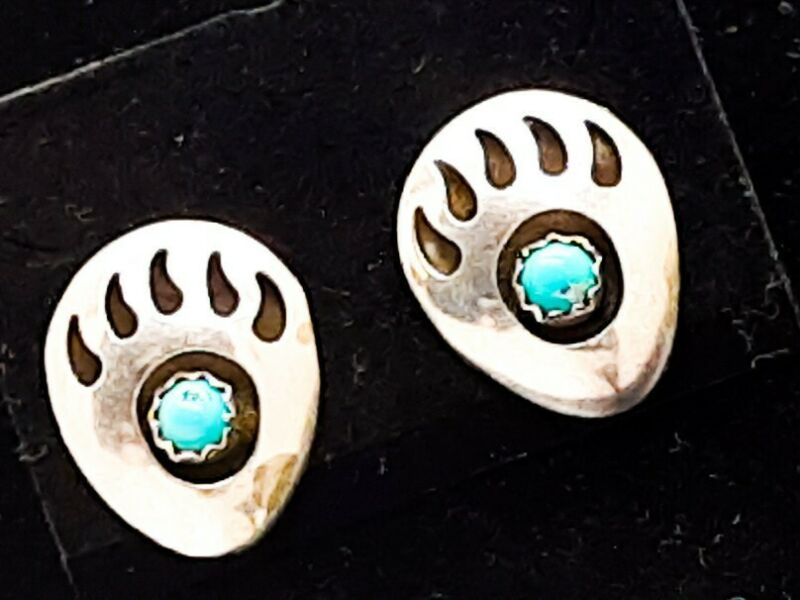 Vintage Southwest Silver Genuine Turquoise Bear Paw Claw Earrings