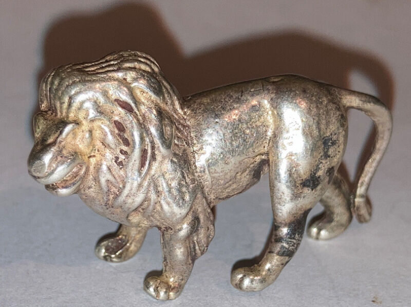 Rare Antique Sterling Silver miniature Lion  Figure Paperweight