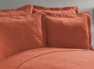 - TERRA COTTA STANDARD SHAM 20x26 : RUSTIC ORANGE MATELASSE PILLOW COVER