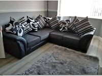 🌼 🌻BRAND NEW SHANOON BLACK AND GREY CORNER OR 3+2 SEATER SOFA IN STOCK BUY NOW 🤩 🥳