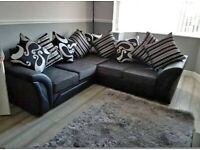 SHANNON BLACK & GREY CORNER OR THREE & TWO SEATER SOFA AVAILABLE IN STOCK