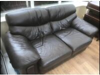 Dark Brown Leather Two Seater Sofa FREE