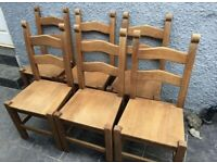 Solid hardwood farmhouse dining chairs great quality and condition, can deliver