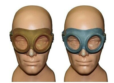 VINTAGE ARMY SURPLUS GOGGLES - pilots / motorcycle helmet glasses flyers biking