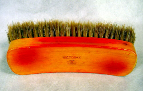 Vintage VICTOR-X Horse Hair SHOE SHINE BRUSH Wood OXCO VictorX Wooden USA Old