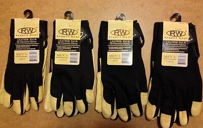 RW Rugged Wear Work Gloves w/Leather Palm Hi-Dexterity/1 PAIR- Size LARGE