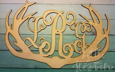 """12"""" Wooden Vine Letter Deer Antlers 12 inch antler Monogram 3 letter custom"""