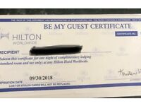 Hilton hotel be my guest certificate one night stay world wide