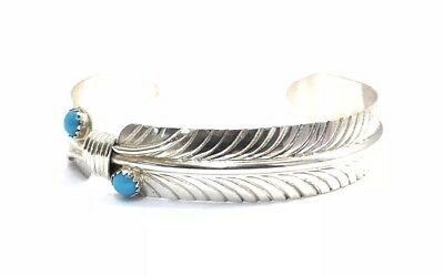 Sterling Silver Native American Design - Native American Sterling Silver Navajo Turquoise Feather Design Cuff Bracelet
