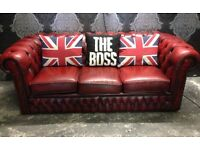 Stunning Chesterfield Vintage 3 Seater Sofa in Oxblood Red Leather UK Delivery