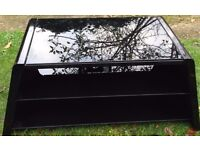 High Gloss Black TV cabinet glass shelves with cable management