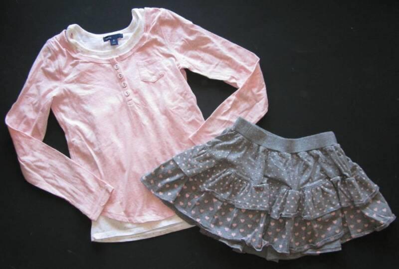 Gap kids glamour girl pirouette modern dance gray pink heart skirt top shirt 8 M