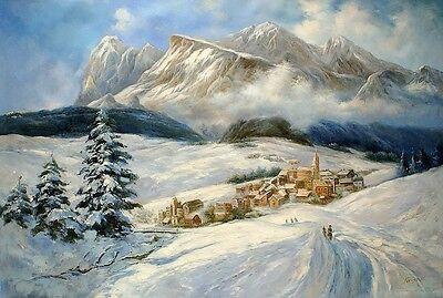Cortina d'ampezzo, ÖLBILD, ÖLGEMÄLDE,HANDGEMALT Landschaftsgemälde F:80x120cm