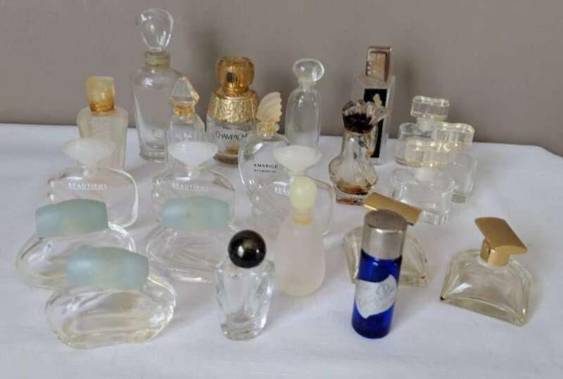 22 Vintage Miniature Empty Glass Perfume Bottles