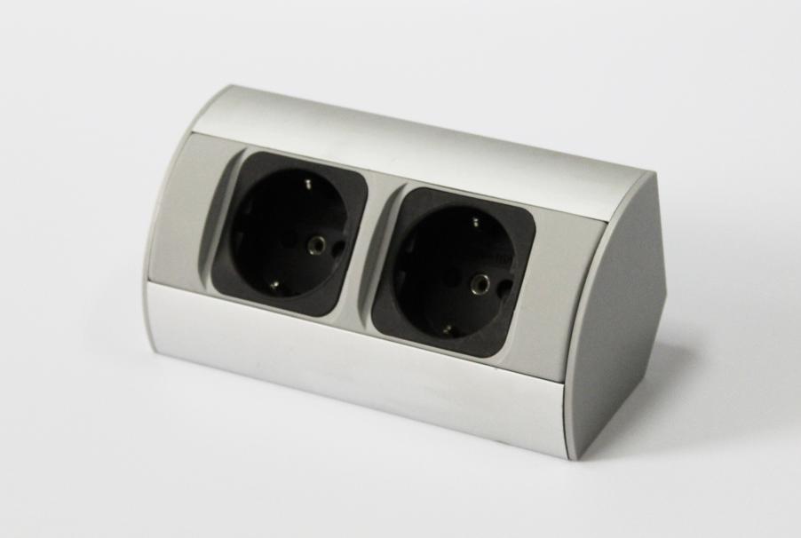 Ecksteckdose Aluminium Energiebox Tischsteckdose Powerport Schutzkontakt