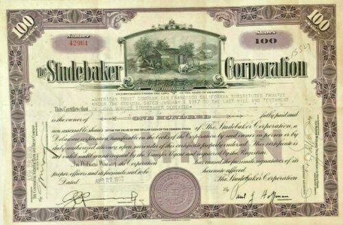 Studebaker stock certificate issued to founder John Mohler Studebaker