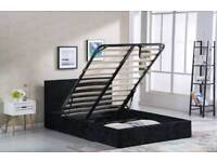 Black velvet ottoman bed frame free assembly service and delivery