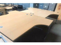 1800mm Right Curved Beech Office Desk
