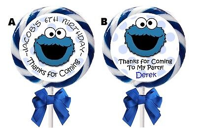 Cookie Monster Party (COOKIE MONSTER BIRTHDAY LOLLIPOP ROUND PARTY STICKERS FAVORS 1.5