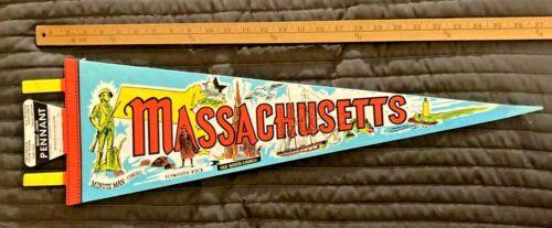 "Vintage Massachusetts 25"" Pennant Plymouth Rock Minute Man Nice Very Rare"
