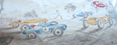 1950's Race Car Flat Sheet Vintage light color Country Scene Twin Size Child Bed for sale  Shipping to Canada