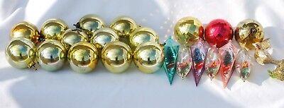 Vintage Jewel Brite Plastic Christmas Ornaments Filled Teardrop Disco Filigree