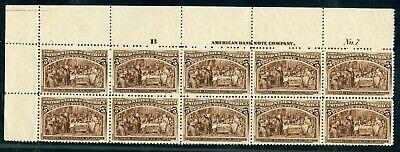 US SCOTT #234 Plate Block of 10 W/ Imprint + Letter, Mint-XF-OG-NH (DFP 4/23/20)
