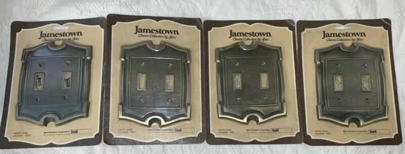 Jamestown Collection By Ajax Double Switch Plate, Brass, Set Of 4 NEW, Scovill