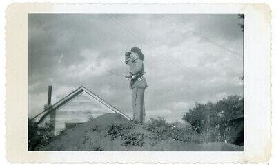 Vintage Photo Davy Crockett Halloween Costume Boy Hunting Bow Arrow Children Toy