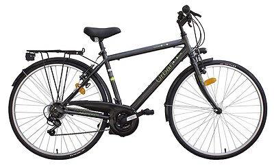 """Bicicletta da Trekking Per Uomo 28"""" 18V In Alluminio Mario Schiano Nera"""