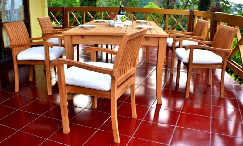 "7 Pc Dining Teak Set Garden Outdoor Patio Furniture Napa Stacking 122"" X-lrg Tbl"
