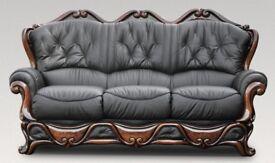 Black italian leather 3 seater sofa