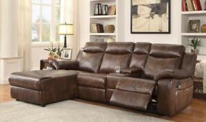Canada Day Special! Reclining 4 Pc Leather gel Sectional with Push back Reclining Chaise Blow Out